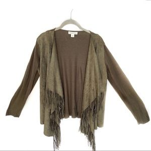 Coldwater Creek Fringed Open Front Sueded Cardigan